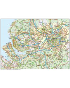 Digital vector Greater Liverpool-Manchester map @250k scale in Illustrator format