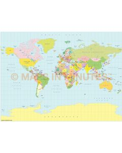Vector World map. Miller Projection @100m scale UK centric