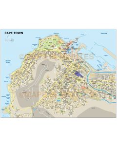 Cape Town city map in Illustrator CS or PDF format detail