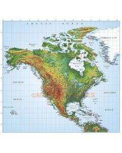 North America Medium Relief map in Illustrator format