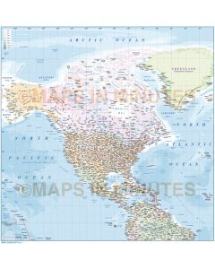 North America Political map in Illustrator AI vector format, with insets and ocean floor contours large scale. Fully editable including fonts..