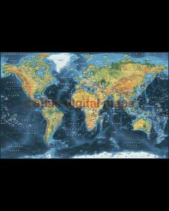 Push Pin World Travel Map NAVY BLUE Decor Canvas - Physical & Political Large 140cmx90cm World