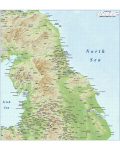 North England County map plus Regular colour relief @1m scale