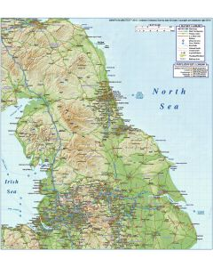 North England County Road & Rail map with Regular colour relief @1m scale