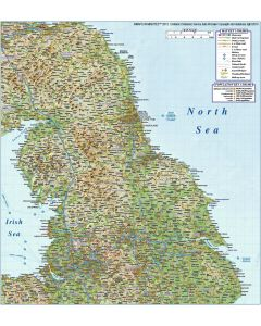 Vector north england map, political county road & rail regular relief map @1,000,000 scale. In illustrator digital format