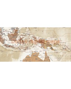 """Framed CANVAS World Map Antique-style Sand - Physical & Political Size 60""""w x 38""""d"""