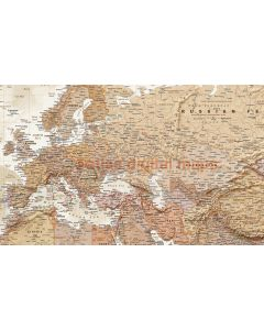 """Framed CANVAS World Map Antique-style Tan and Sand - Size 60""""w x 38""""d."""