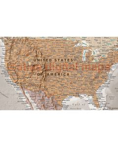 """Framed CANVAS World Map Antique-style Tan and Stone - Size 60""""w x 38""""d."""