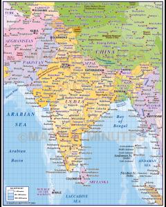 Digital vector India States Political Map plus Sea contours @1:10m scale