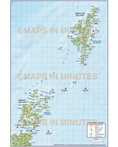 Northern Isles 1st level Political Road Map @500,000 scale plus Regular relief