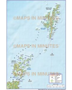 Northern Isles 1st level Political Road Map @750,000 scale plus Regular relief