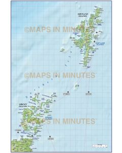 Northern Isles 1st level Political map with high res medium colour relief @1m scale