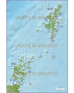 Northern Isles 1st level Political map with high res strong colour relief @1m scale