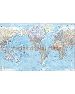 "CANVAS World Map Framed Political & Ocean contour relief USA-centric - Size 60""w x 38""d"