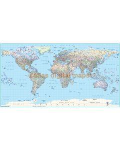 "Political World Map Framed CANVAS (Wide size) 72""w x 38""d"