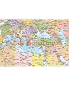 "Framed CANVAS World Map Political & Ocean contours - Size 60""w x 38""d"