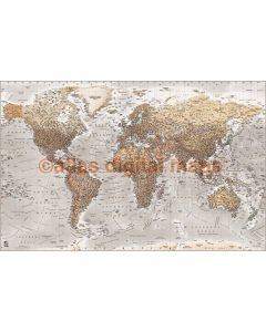Push Pin World Travel Map NEUTRAL Stone Grey Detailed Canvas - Physical & Political Large 140cmx90cm Pinboard/Pushpin