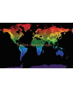 """Rainbow World Map Stretched Canvas Physical relief for Home Decor - Size 60""""w x 38""""d"""
