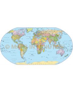Digital vector map, Robinson Projection Political World Map (UK centric) @10M scale