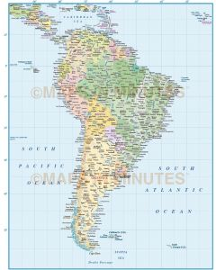 Vector South America map with country fills and Brazil State fills