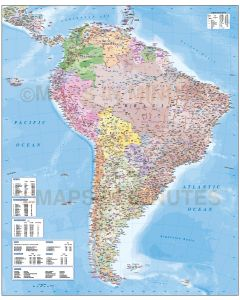 Digital vector detailed South America map in Illustrator CS6 AI format. Political Road & Rail Map with land and ocean floor contours. Internal divisions showing.