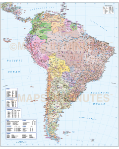Vector South America map, showing Political to 1st level, road and rail, physical features with plain sea.