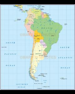 South America Basic Political map