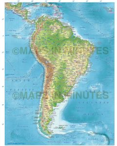 South Americas Political Map with Regular colour relief option
