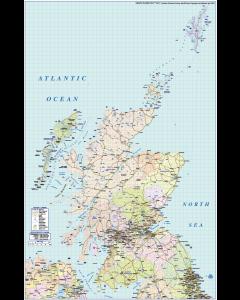 Scotland Regions Road & Rail Map @1,000,000 scale