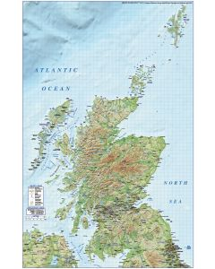 Scotland Regions, Road & Rail map with Medium relief background @1M scale