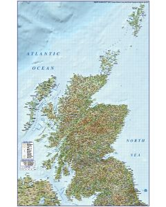 Digital vector Scotland map, Regions, Political, Road & Rail with High Res Regular relief @500,000 scale complete area