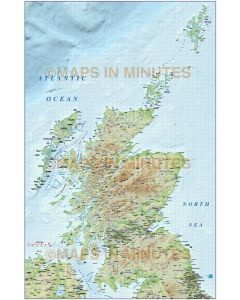 Scotland 1st level Political map with high resolution strong colour relief @1M scale