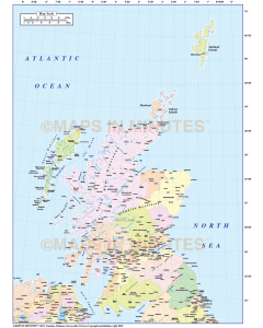 Scotland Regions Map, Illustrator AI CS & PDF formats, includes the Orkney Shetland Isles, 5m scale. (Northern Isles). Royalty free.
