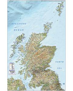 Detailed Scotland Road Rail Map incl. Orkney & Shetland, Illustrator AI format, large 750k. High Res Regular relief