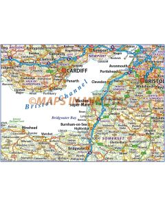 South West England County Road and Rail Map @500k scale