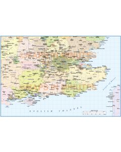 Digital vector south east england map basic at 1m scale