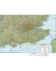 Detailed South East England Map, Illustrator AI vector, Road, Rail & Regular Relief, large 500k 2018