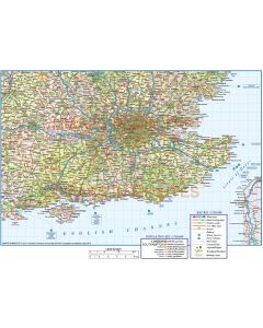 Detailed South East England Map. Road, Rail & County Political Map illustrator AI CS vector & pdf format, 750k scale