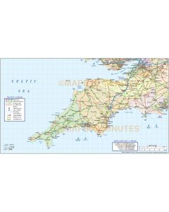 South West England County, Road and Rail map @1m scale
