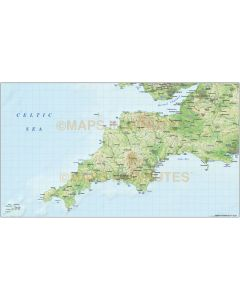 South West England County Map plus Regular colour relief @1m scale