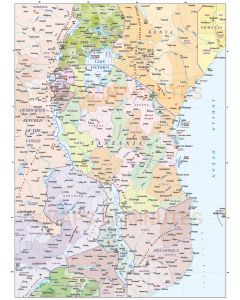 Tanzania vector map, political & 1st divisions. This image shows the Tanzania internals plus internal fills for surrounding countries.