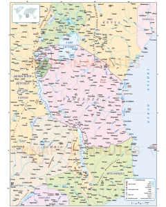 Vector Tanzania Country political map in Illustrator format