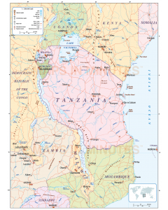 Digital Tanzania vector map, political Country with roads.