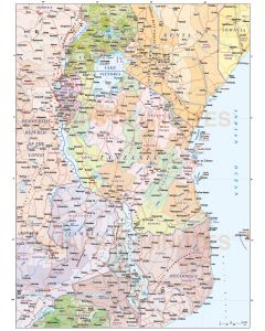 Tanzania vector map, political, road & rail. This map shows the Tanzania internals plus internal fill colours for surrounding countries.