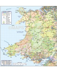 Wales County Road and Rail Map @1,000,000 scale