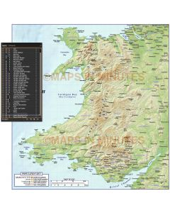 Wales 1st level Political Map with High Resolution Regular relief