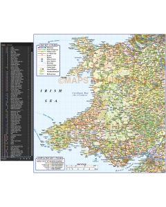 Detailed Wales Road & Rail Map in Illustrator AI CS digital vector format, Large 750k scale.