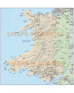 Digital vector Wales Map,Wales Country map with shaded relief in Illustrator AI CS vector editable format, 1m scale.