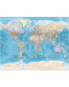 Detailed World Map Illustrator format, Political and Country Relief options, Gall projection. CS6/CC AI, Large size.