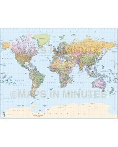 Digital vector map, Basic Political Gall Projection World Map (UK centric) @20M scale